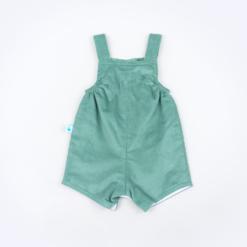 Vista Trás jardineira de bebé em bombazine verde.