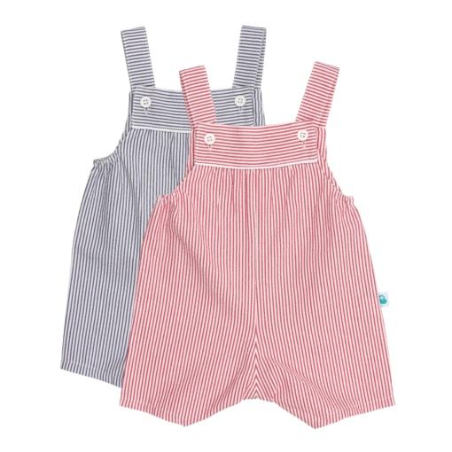 Conjunto de duas jardineiras para bebé de perna curta de cor vermelha e azul.