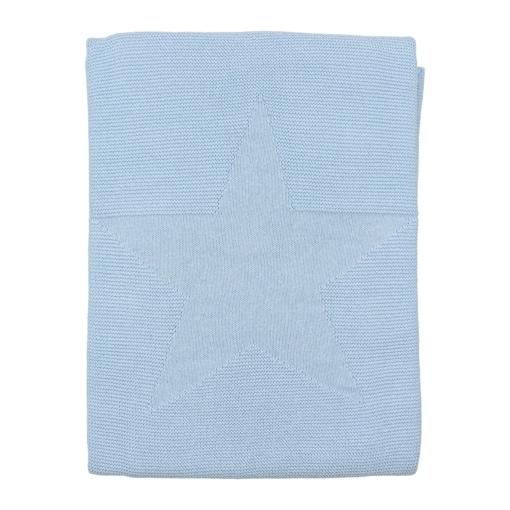 Manta para bebé azul clara feita em algodão. Tem uma estrela no centro em relevo.