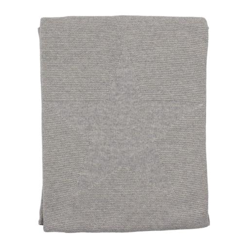 Manta para bebé cinzenta feita em algodão. Tem uma estrela no centro em relevo.