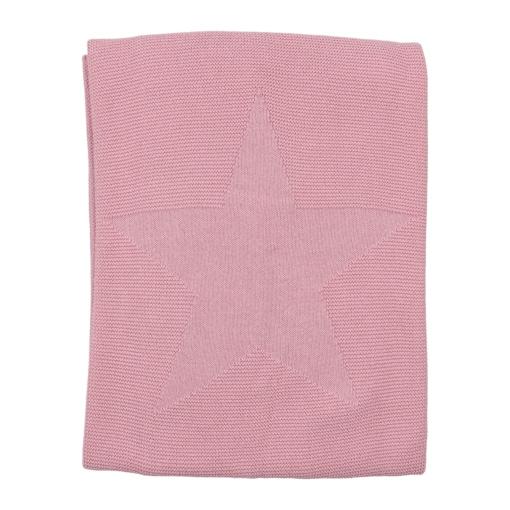 Manta para bebé rosa velho feita em algodão. Tem uma estrela no centro em relevo.