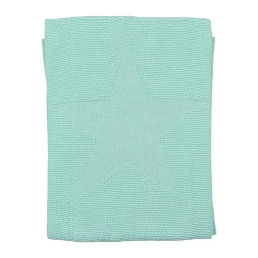 Manta para bebé verde água feita em algodão. Tem uma estrela no centro em relevo.