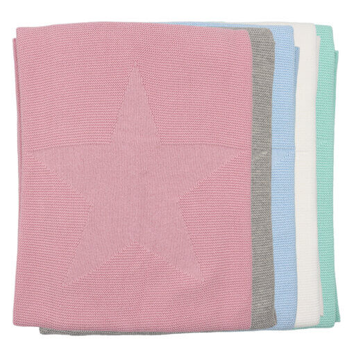 Conjunto de cinco mantas de bebé em algodão com um estrela em relevo.