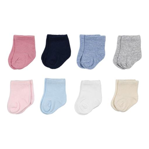 Conjunto de oito meias para recém nascido em rosa claro, rosa velho., azul claro, azul inglês, azul marinho, branco, pérola e cinzento.