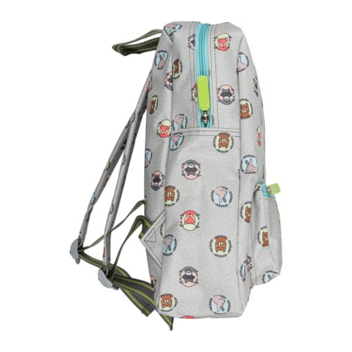 Vista de lado de mochila para criança cinzenta com animais da selva.
