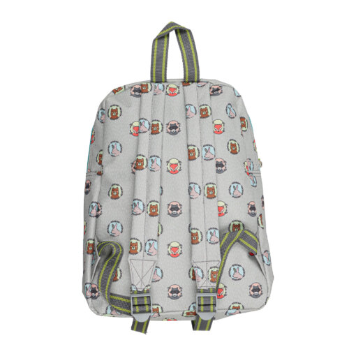 Costas de mochila para criança cinzenta com animais da selva.