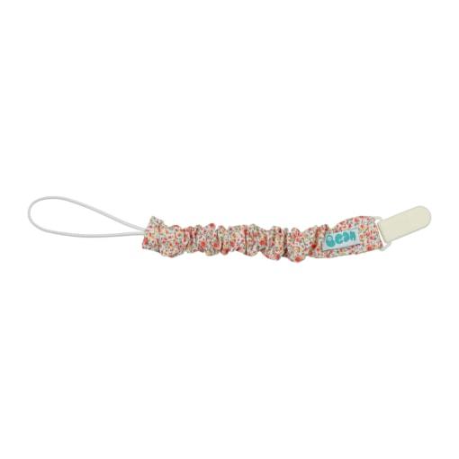 Porta Chupetas de bebé em tecido com flores, fecho branco em plástico e elástico no interior.