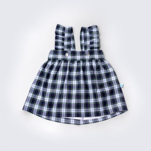 Vista Frente Saia de Peito de bebé em tecido xadrez e com folho nas alças.