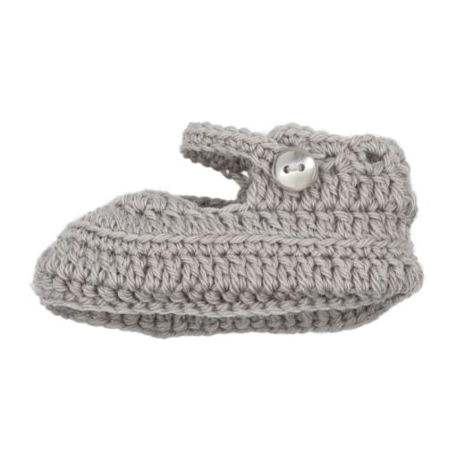 Sapatinhos de Lã para recém nascido em cor cinzenta.