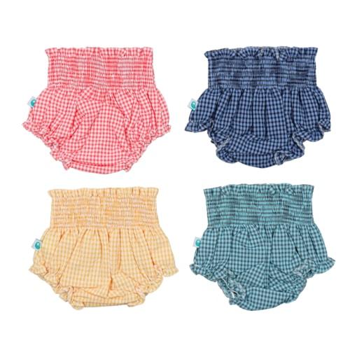 Conjunto de tapa fraldas de bebé aos quadrados disponível em amarelo, coral, azul inglês e azul turquesa.