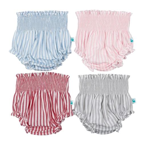 Tapa fraldas de bebé às riscas com elástico na cintura em quatro cores, vermelho, rosa, azul claro e cinzento.