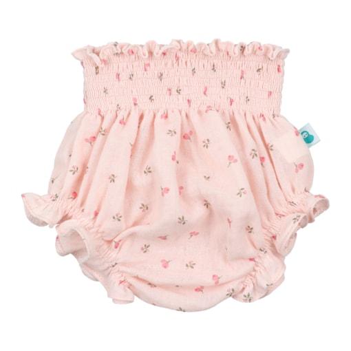 Tapa Fraldas de Bebé rosa com padrão estampado de flores.
