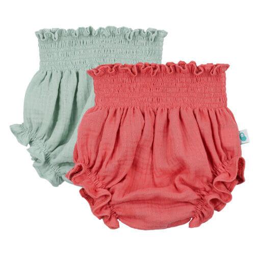 Conjunto de dois tapa fraldas de bebé em algodão orgânico de cor verde e terracota.