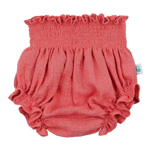 Tapa fraldas de bebé em algodão orgânico de cor terracota.