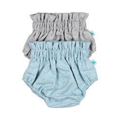 Conjunto de dois tapa fraldas para bebé em tecido de fazenda um de cor cinzenta e o outro azul claro.