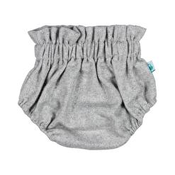 Tapa fraldas para bebé em tecido fazenda de cor cinzenta.