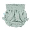 Tapa Fraldas de bebé em tecido de algodão orgânico verde com flores estampadas.