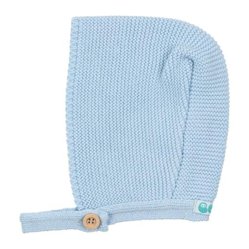 Touca de bebé em malha de cor azul claro.