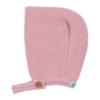 Touca de bebé em malha de cor rosa velho.
