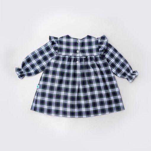 Vista trás Vestido de bebé em tecido xadrez e com folho nos ombros.