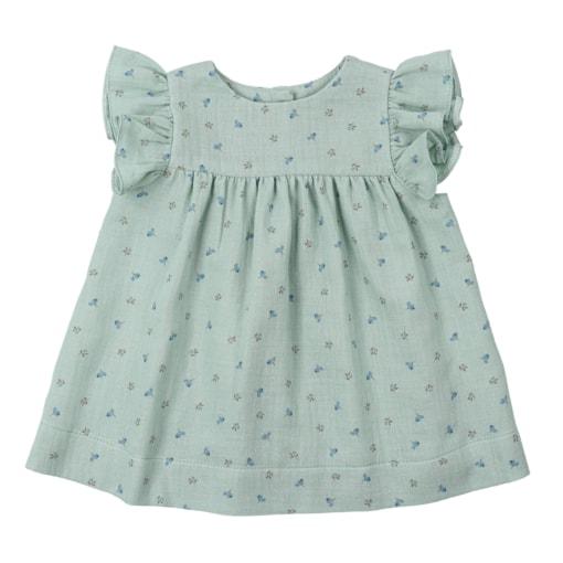 Vestido de bebé em tecido verde com estampados de flores feito em tecido 100% algodão orgânico.