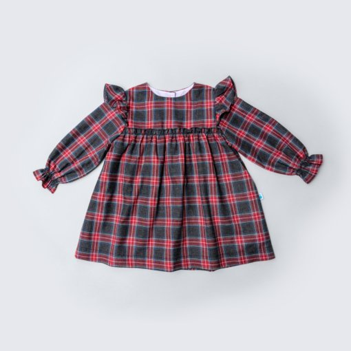 Vista Frente Vestido de bebé em tecido xadrez e com folho nos ombros.